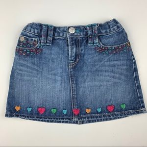 Girls GapKids denim skirt embroidered hearts, 5